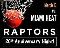 "$79 and Up for Tickets to the Toronto Raptors vs. Miami Heat Game on March 13, Celebrating the ""20th Anniversary Night"" at the ACC with Giveaways and More! Miami Heat Game, Toronto Raptors, 20th Anniversary, Giveaways, March, Night, Sports, 20th Birthday, Sport"
