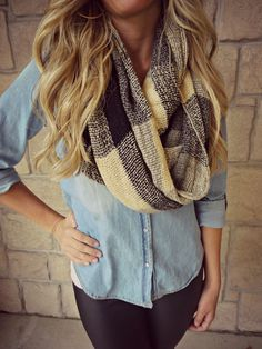 Chambray button up shirt, plaid infinity scarf and leggings