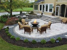 stairs, firepit, paver patio with travertine, Back Yards, Patio