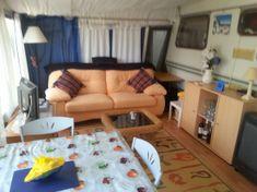 Resale Caravan For Sale On Camping Benisol Caravan Park Benidorm, Costa Blanca, Spain £5,990 | Benidorm Caravan Sales Awnings For Sale, Caravan Awnings, Caravans For Sale, Sales, Sofa, Couch, Spain, Camping, Furniture