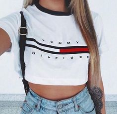 4. TOMMY CROP TOP+High Waisted Jeans+Black Leather Jacket+Red Sneakers
