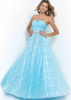 Sparkly Sheer Sweetheart Beaded Ruched Powder Blue Evening Gown