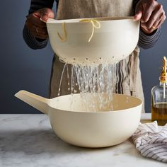 Food 52 x Ekobo Bamboo Colander & Pour Bowl Set, 5 Colors, 2 Sizes Kitchen Tools, Kitchen Gadgets, Kitchen Ideas, Kitchen Supplies, Kitchen Things, Kitchen Products, Kitchen Decor, Kitchen Design, Kitchen Appliances