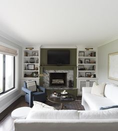 Living Room With Marble Fireplace And Built In Shelving White Sofa Roomfortuesday