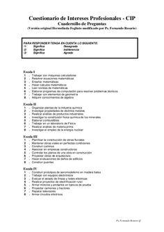 Ps. Fernando Rosario Q Cuestionario de Intereses Profesionales - CIP Cuadernillo de Preguntas (Versión original Hermelinda...
