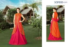 ORANGE SILK SUIT WITH EMBROIDERY WORK