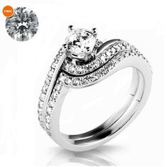 14k white gold finish diamond womens pretty engagement ring with free gift - Cheap Wedding Rings Under 100