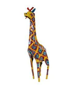 Mbare Painted Tin Giraffe (Multi)