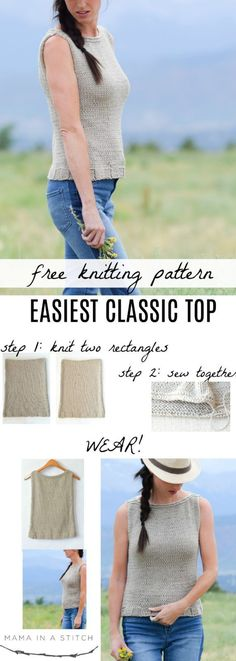 Knitting Patterns Top Easiest Classic Knit Top Pattern via Mama In A Stitch Knit and Crochet Patterns - Jessica Easy Knitting Patterns, Knitting Stitches, Free Knitting, Crochet Patterns, Shawl Patterns, Crochet Ideas, Pull Beige, Fingerless Mitts, Summer Knitting