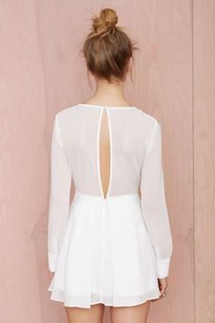 Embroidered front sheer back little white dress