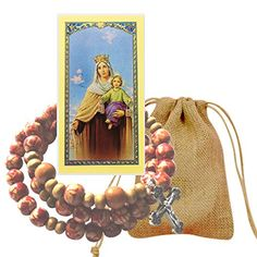 Our Lady of Mount Carmel Painted Speckled Wood Wrist Rosary Bracelet Silver Oxidized Crucifix and Medal Blessed Laminated Prayer Card ** You can get more details by clicking on the image. (This is an affiliate link) #ReligiousBracelets