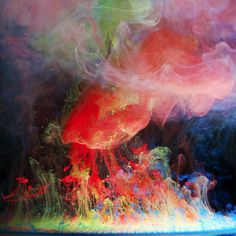 "Making a splash: Aqueous Electreau water art by photographer Mark Mawson  London-based Mark says: ""Aqueous Electreau is the fourth in my Aqueous series, which I had the idea for after watching milk being poured into coffee. I was intrigued by the way the milk swirled and blended with the coffee and produced interesting shapes.  Picture: Mark Mawson / Rex Features"