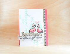Lawn Fawn Let's Flamingo; pink and aqua; Carissa Wiley; Sprinkled with Glitter; light effect; stencil; background; triangles