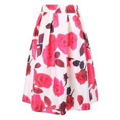 Beautiful Rose Print Elastic Waist Midi Skirt ($15) ❤ liked on Polyvore featuring skirts, elastic waistband skirt, midi skirt, mid-calf skirt, elastic waist skirt y calf length skirts