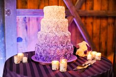 Curlicues were a common element in this wedding.in the cake and lighting on the dance floor. Could have extended it to the printed material also. Wedding Types, Wedding Colors, Our Wedding, Dream Wedding, Fantasy Wedding, Whimsical Wedding, Wedding Stuff, Ombre Rose, Purple Rose