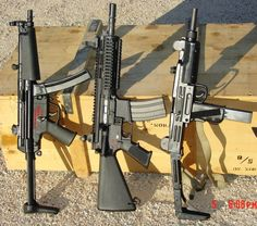 From Left: HK MP-5, AR-Type carbine, Uzi