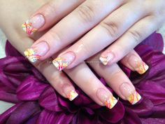 White gel tips with neon flick nail art