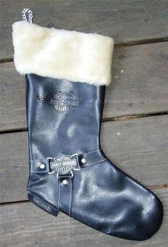 RARE Vintage 1997 HARLEY DAVIDSON Black Leather CHRISTMAS STOCKING Biker Boot
