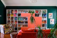 In This Self-Taught Designer's Prismatic Family Home, Hot Pink Is a Neutral Best Interior, Interior Design, Living Room Bookcase, Living In Italy, Interiors Magazine, Open Layout, Interior Architecture, Living Spaces, Living Rooms