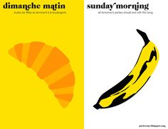 Paris vs NYC by Vahram Muratyan - a tally of two cities: le matin croissant vs banana Paris Vs New York, New Paris, Nyc, Best Art Books, Lichtenstein Pop Art, All Tomorrow's Parties, Online Shops, Typography Inspiration, Illustrations Posters