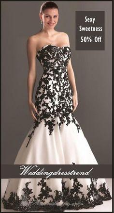 Women Love Fashion Party Wedding Dresses http://www.weddingdresstrend.com/en/sexy-sweetheart-black-applique-mermaid-black-wedding-dress-wg81410054.html