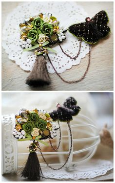 Brooch Order of butterflies in two parts  Butterfly and Bouquet embroidered brooch