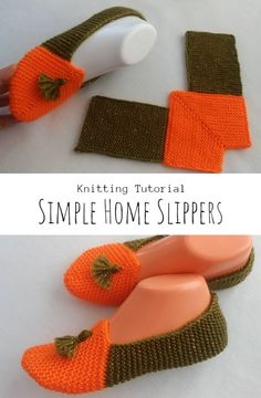 Knit Simple Home Slippers Knitted Slippers, Slipper Socks, How To Start Knitting, Easy Knitting, Simple House, Are You The One, Crochet Patterns, Embroidery, Creative