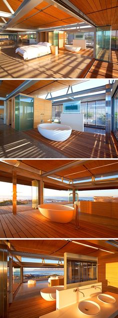 This master suite has a soaker tub positioned behind the bed to take full advantage of the ocean views.