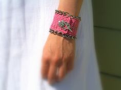 Handmade Crochet Bridal Cuff Bracelet in Candy Pink with silver tone floral Toggle closure and chain