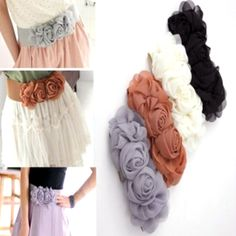 Fashion Chiffon Flower Double Rose flower Elastic Stretch Waist Belt for women vintage Lady Belt Waistband-in Belts & Cummerbunds from Appar...