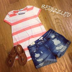 Perfect outfit for this summer heat! Coral Striped Tee $24.99 Destressed Shorts $34.99 Tan Sandals $18.99 #bedazzledokc #boutique #okc