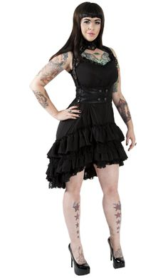Lip Service Step in Time Dress    Faux underbust with 4 tiers of ruffles and lace