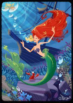 Disney Princess Fanart - Ariel - The Little Mermaid Disney Pixar, Ariel Disney, Disney Fan Art, Disney Magic, Princesa Ariel Da Disney, Walt Disney, Disney E Dreamworks, Mermaid Disney, Disney Little Mermaids