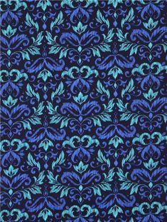 Tissu bleu foncé importé des Etats-Unis avec un motif damassé turquoise et bleu