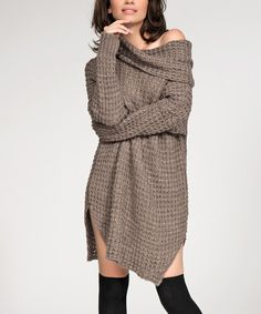 Look at this Numinou Cappuccino Waffle Cowl Neck Dress on #zulily today!