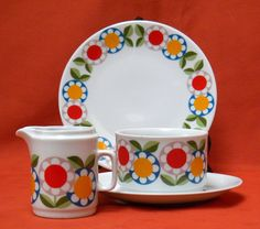 Vintage Retro Bavaria Jaeger & Co Porcelain Set of Plate, Sauce bowl and Creamer, Mid Century Modern Floral Pattern by VintageShop1001 on Etsy https://www.etsy.com/uk/listing/287464745/vintage-retro-bavaria-jaeger-co