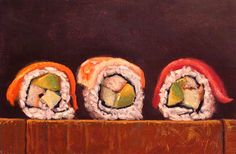 Oil paintings by Abbey Ryan. Sushi Drawing, Food Drawing, My Sushi, Sushi Art, Leftover Pork Roast, Valentines Day Food, Valentine Party, Chocolate Sculptures, Taiwanese Cuisine