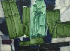 Green textural Abstract, mixed media on canvas 1100 x 800mm by Timna Woollard