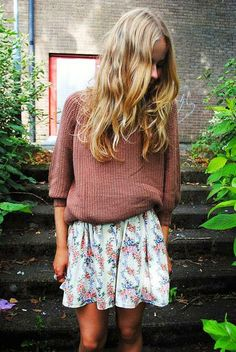 Knit And Floral Skirt..wrinkles and all ♥