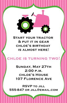 Pink Tractor Birthday Party Invitations.