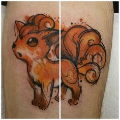 Watercolor Vulpix tattoo done by @josiesexton