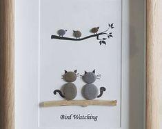 Pebble Art framed Picture- Bird Watching