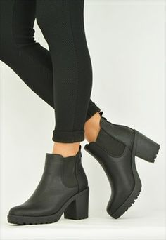 Womens chelsea ankle boots black PU Size 3-8 UK