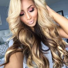 Shop our Platinum Collection Line of Brazilian Body Wave virgin hair extensions. Our Platinum Line hair extensions are from one donor making them more manageable. These bundles are fuller than our VIP Weave Hairstyles, Pretty Hairstyles, Straight Hairstyles, Hair Colorful, Balayage Blond, Blonde Hair, Grey Hair, Brown Hair, Curly Hair Styles