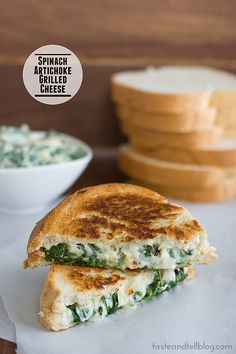 Spinach Artichoke Grilled Cheese by www.tasteandtellblog.com