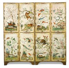 A pair of painted leather chinoiserie four fold screens, probably Dutch, 19th century one decorated with exotic beasts and birds on a cream round, the other decorated with similar on a gold ground, leather panels re-lined and restored each panel 178.5cm. high, 47cm. wide; 5ft. 10¼in., 1ft. 6½in.