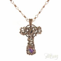 Chaos Cross with banded agate, a Wire Guild design.  #Artisanni #wirework