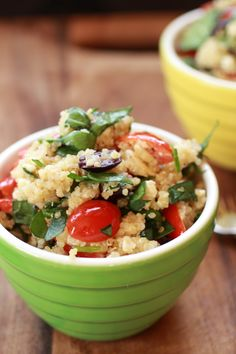 [ Recipe: Mediterranean Quinoa Salad ] Using quinoa, water, grape tomatoes, spinach, kalamata olives, feta cheese, kalamata olive juice, extra virgin olive oil, garlic, oregano, salt, and black pepper. ~ from HalfBakedHarvest.com