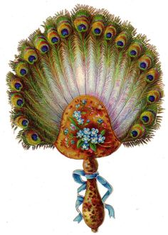 RARE Die Cut Fan Shape Victorian Xmas Card Christmas Peacock Feathers C1880s | eBay