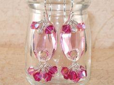 Pink Earrings, Swarovski, Crystal, Dangle, Cluster, Pink, Sterling Silver, Stacked, Handmade Earrings